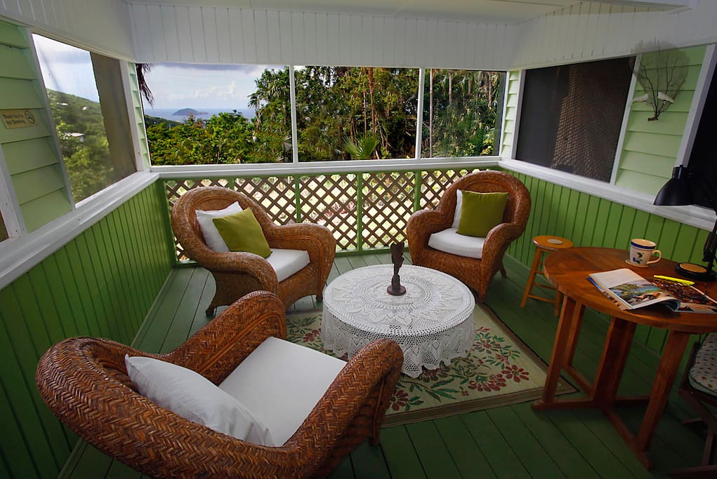 Outdoor screened in porch ideal to watching sunsets.