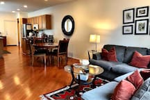 First floor; family room, dining area and the kitchen