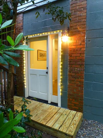 The private entrance to our ground-level apartment. A private, off-street parking spot is steps away from the door.