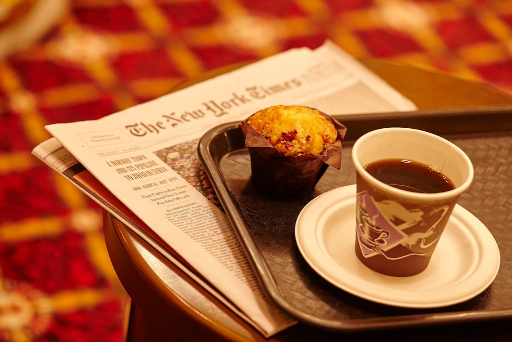 Complimentary muffins, tea, and coffee daily from 6:30-10:30am