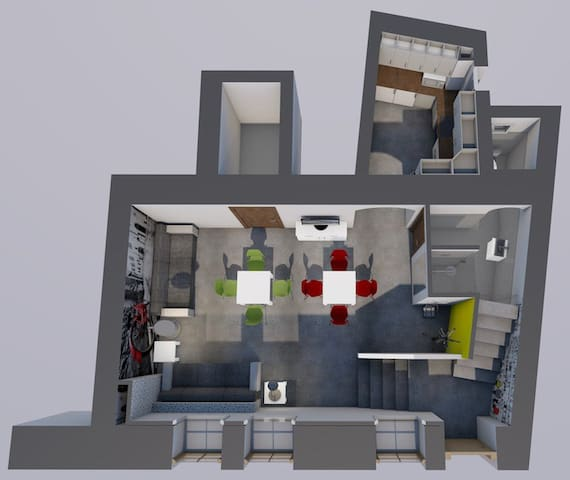 living room+kitchen+bathroom