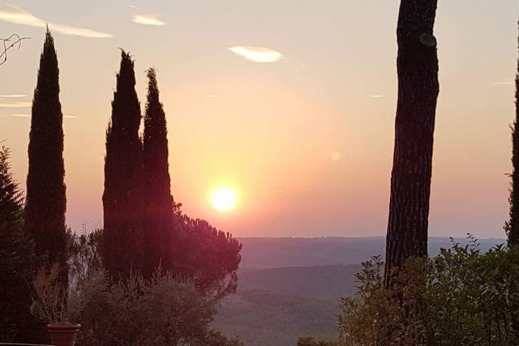 Sunset from  the stone Villa  and from the Barn