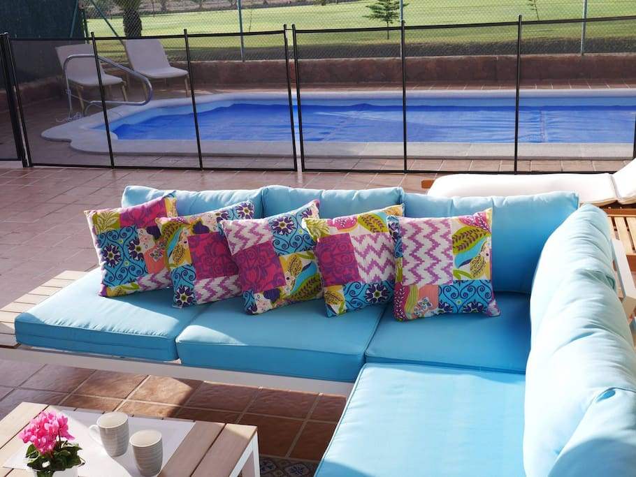 Comfy outdoor seating and pool safety fence for hire