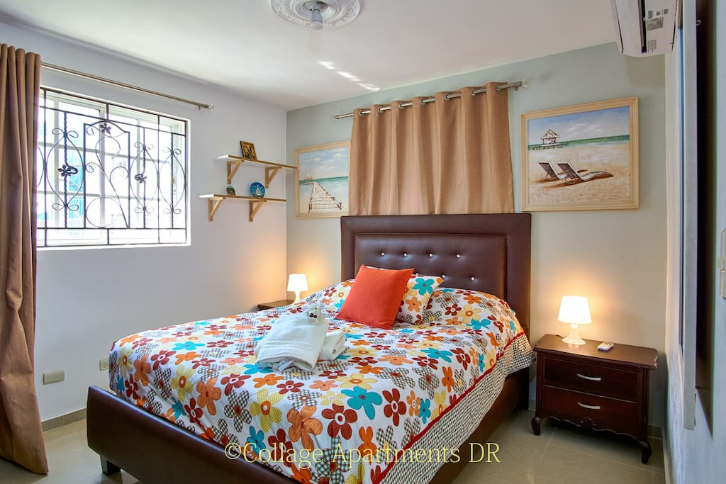2nd bedroom with Queen Size bed & 12,000 BTU Air Conditioner
