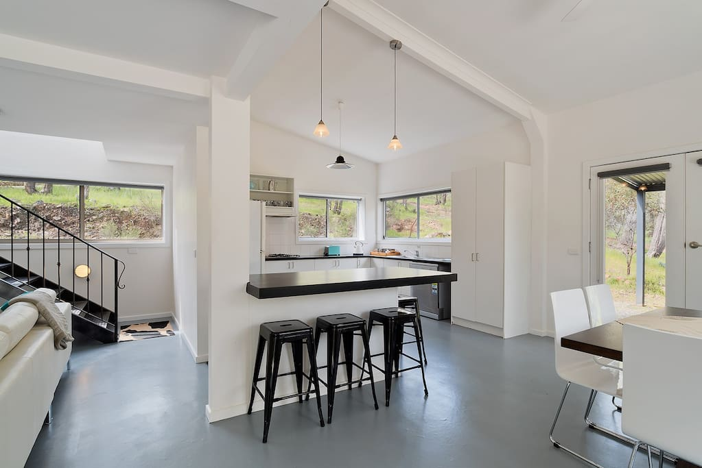 Kitchen and dining areas are great for large groups.