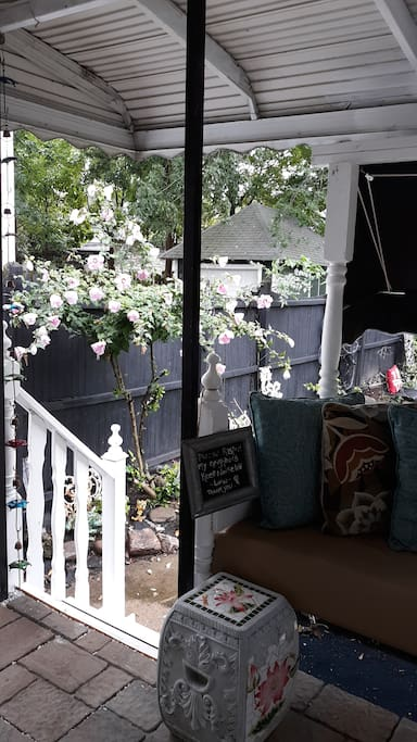 View of back deck from french doors in the kitchen