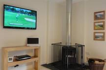 Lounge TV and Wood Stove
