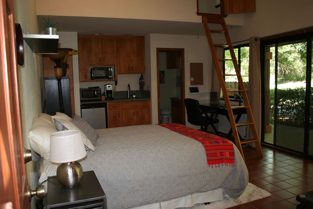 Kitchenette with microwave, toaster oven, induction cooktop and coffee maker. Twin bed in loft.