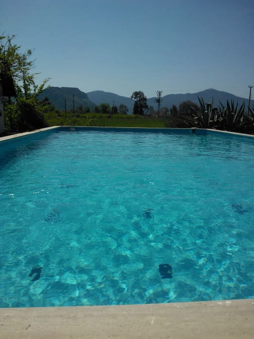 Large pool with Mountain views.