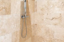 The cottage's luxurious walk-in shower room