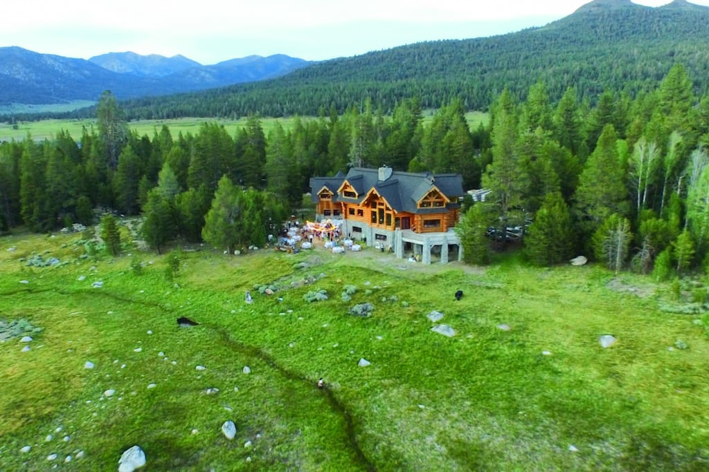 Aerial view of the lodge in early summer.  Enjoy fantastic hiking, biking and fishing right from the lodge, and gorgeous kayaking in nearby mountain lakes.