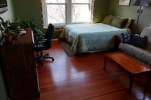 Comfortable queen bed and futon