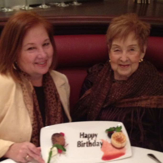My mother and I celebrating her birthday. She lives with me.
