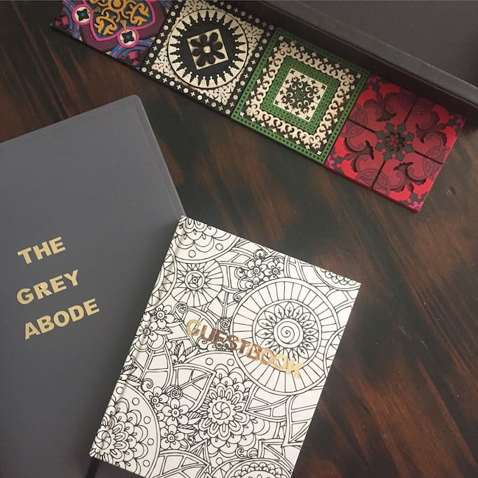 The Grey Abode manual and guestbook.