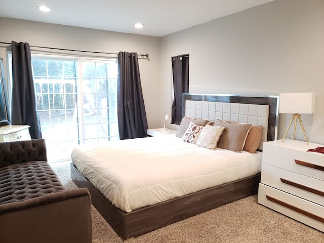 Master bedroom, cal king bed, large custom closet, couch and TV
