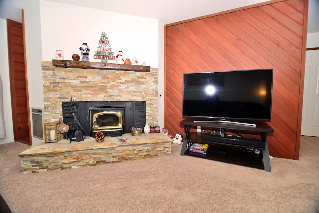 New Smart TV and Wood burning fireplace with free wood!