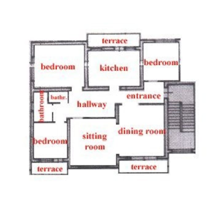 Plan of apartment, 120 sqm.