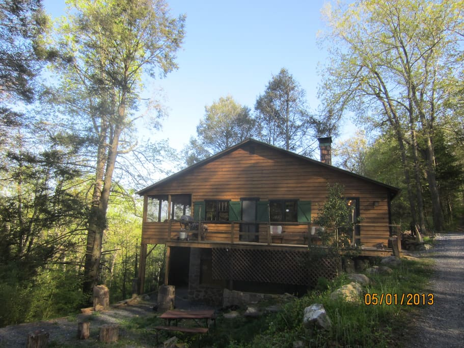 Front View of Bear Ridge Cabin in Spring