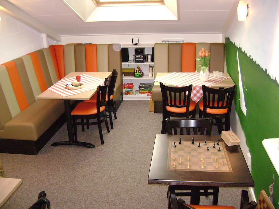 Living/dining room, for groups that rent our whole accommodation, with dishwasher.