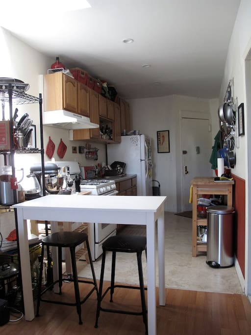 The kitchen and entrance to the apartment.