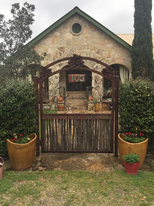 Beautiful Handmade Front Gate and Entrance to the Stone House