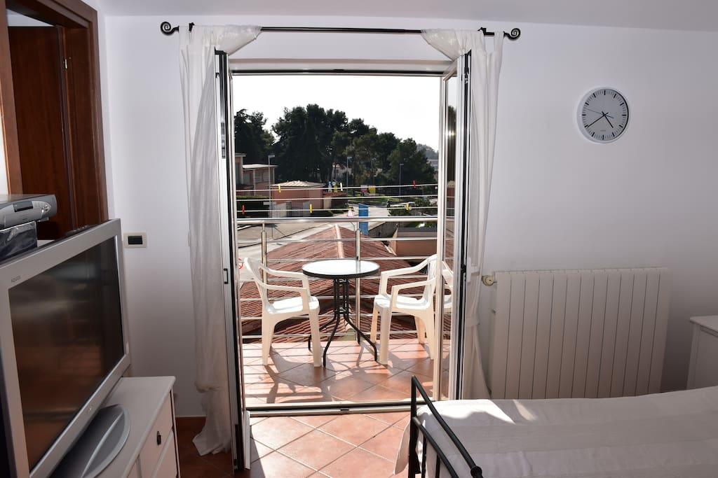 Private balcony and the sun in the room...
