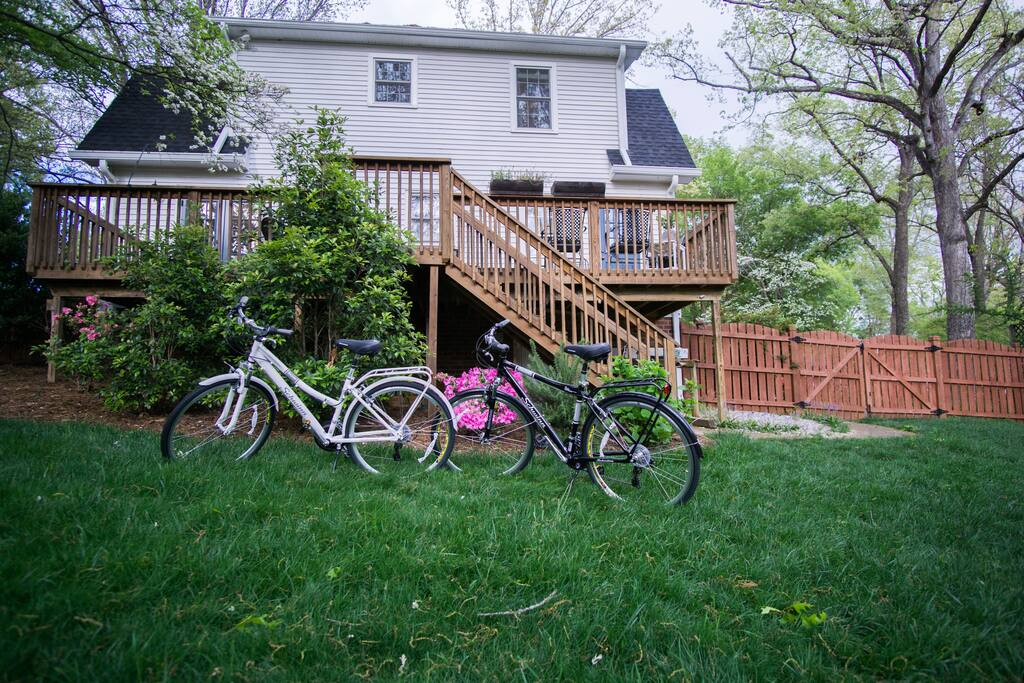 We have 3 bikes to offer our guest.  We also provide boardgames for kids and adults alike.