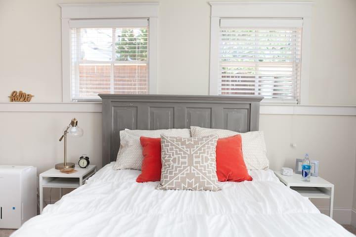 Comfy + Cozy Queen sized bed w/ memory foam mattress