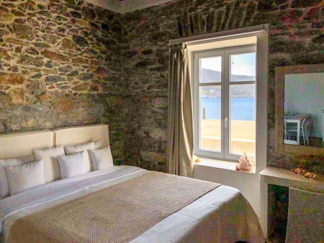 Amorgos Katapola beach apartment, sunset view