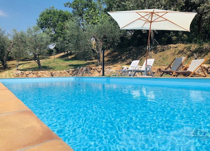 Villa with view, large pool and olives
