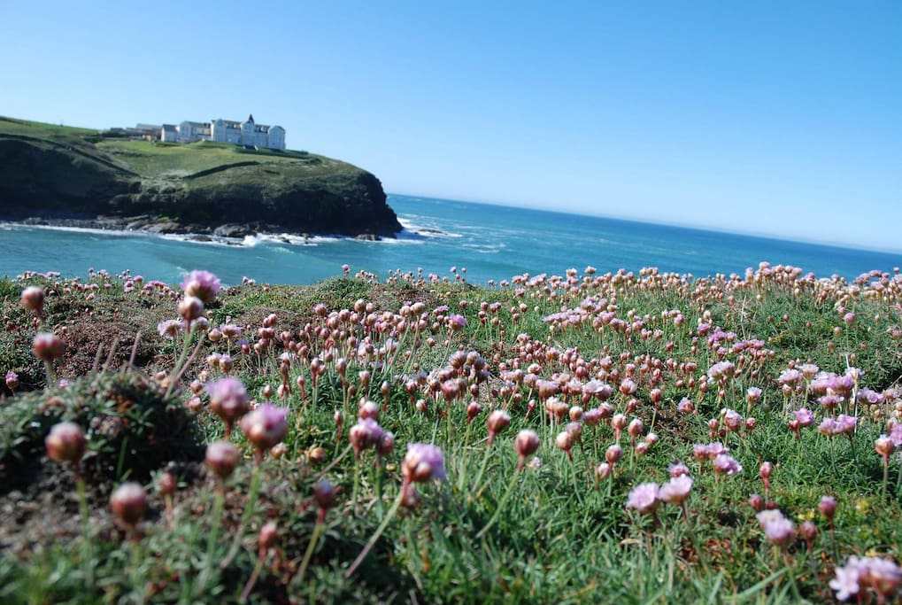 Glorious views from the South West coast path at Poldhu, just two minutes walk from our cottage.