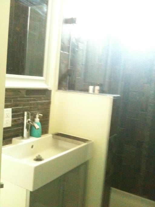 Brand new bathroom - looks much better in real life (iphone fail)