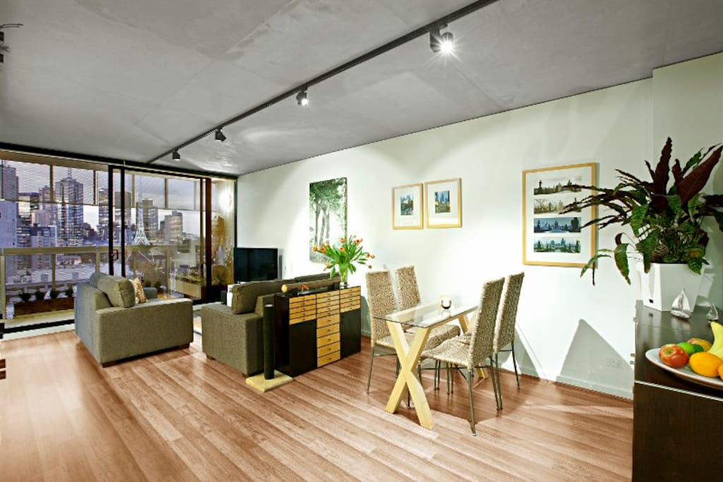 Dining and Lounge Space with Melbourne Skyline