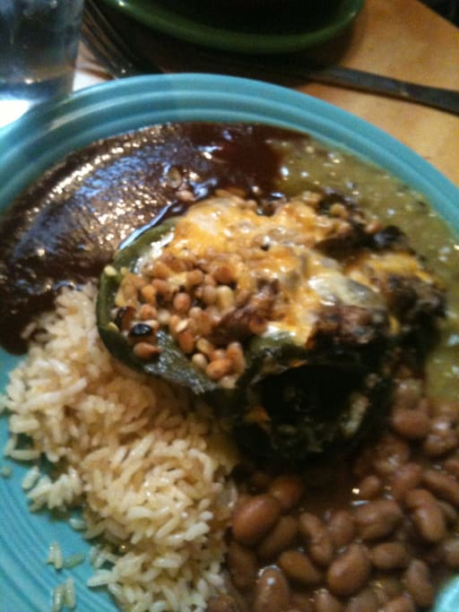 Do not be chile-deprived! Head to Juanitas around the corner on 4th for red chile, huevos, chiles rellenos and HOMEMADE tortillas!