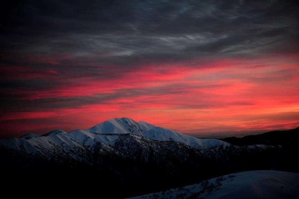 Mt Feathertop at Sunset in snow from Mt Hotham