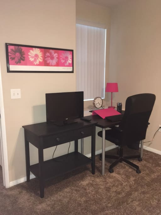 TV with built in DVD player, computer work desk and chair