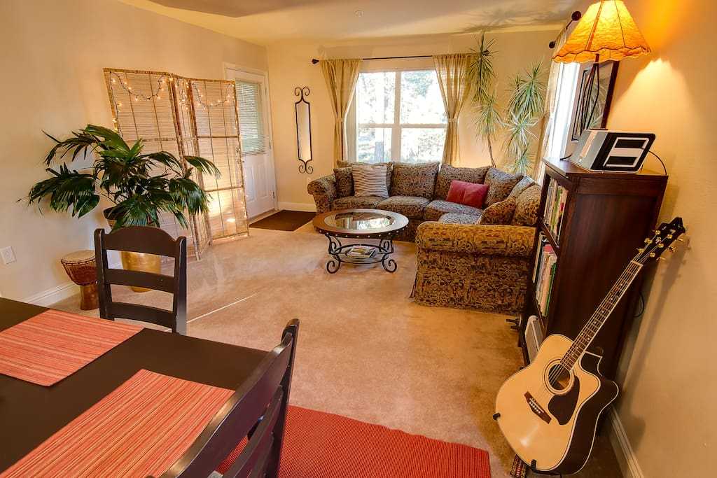 The main living area has plenty of windows and natural light.