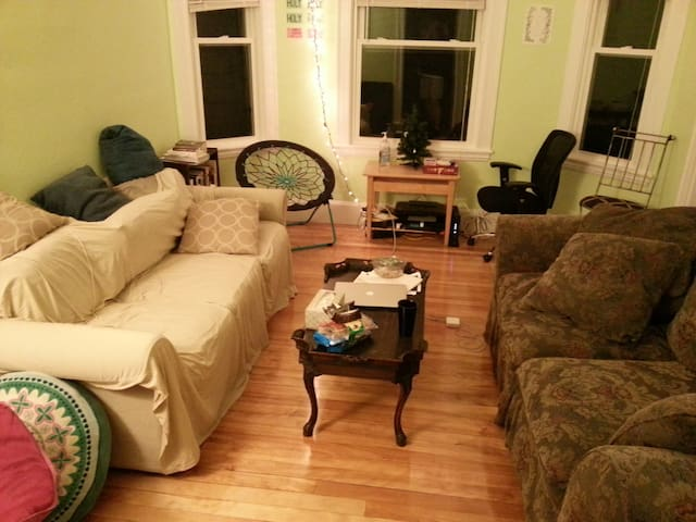 living room: 2 couches, coffee table, assorted chairs (for guests!), bookshelf