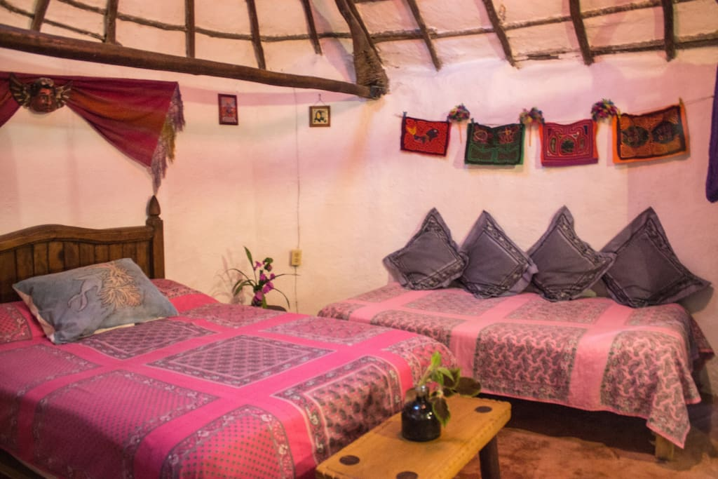 Casitas Kinsol Guesthouse in Puerto Morelos - near Cancun - Room #1 - One full-size bed and one twin-size bed can accommodate up to 3 persons