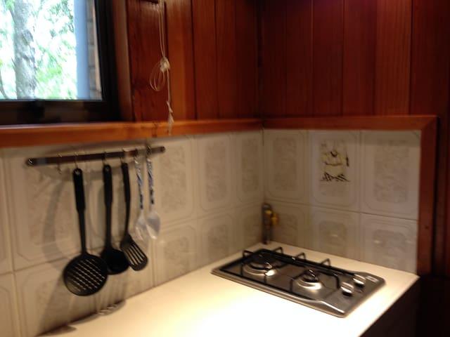 Nuestra cocina cuenta con lo necesario para cocinar algo rápido, ademas  en contrataras pequeño frigobar.