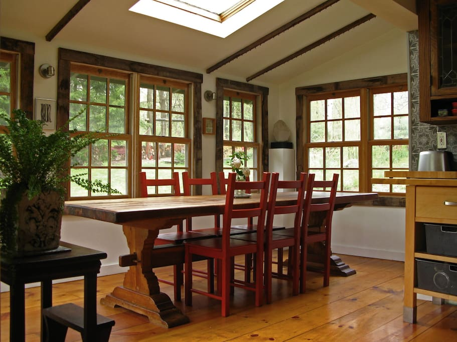 The dining room is right off the kitchen and inspires opulence and intimacy