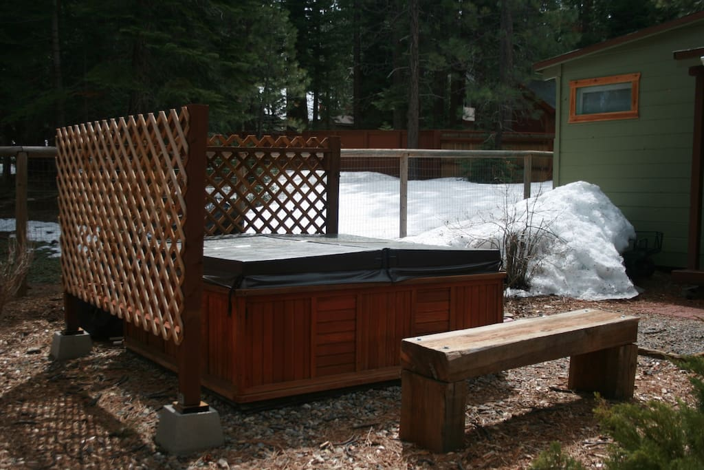 Private hot tub on property.