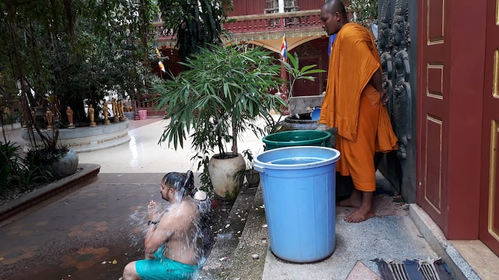 Water Blessing by monk