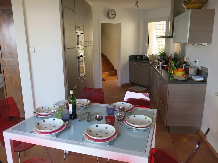 Cuisine et salle à manger conviviales