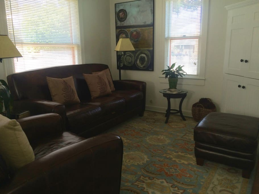 Wool carpet and entertainment center. TV, WiFi, radio/ stereo