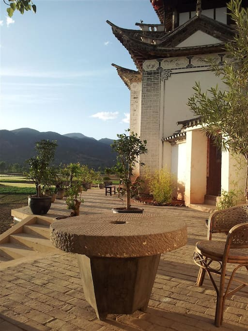 Terrace, Old Theatre Inn, Duan Village, Shaxi Yunnan China