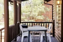 back deck with picnic table