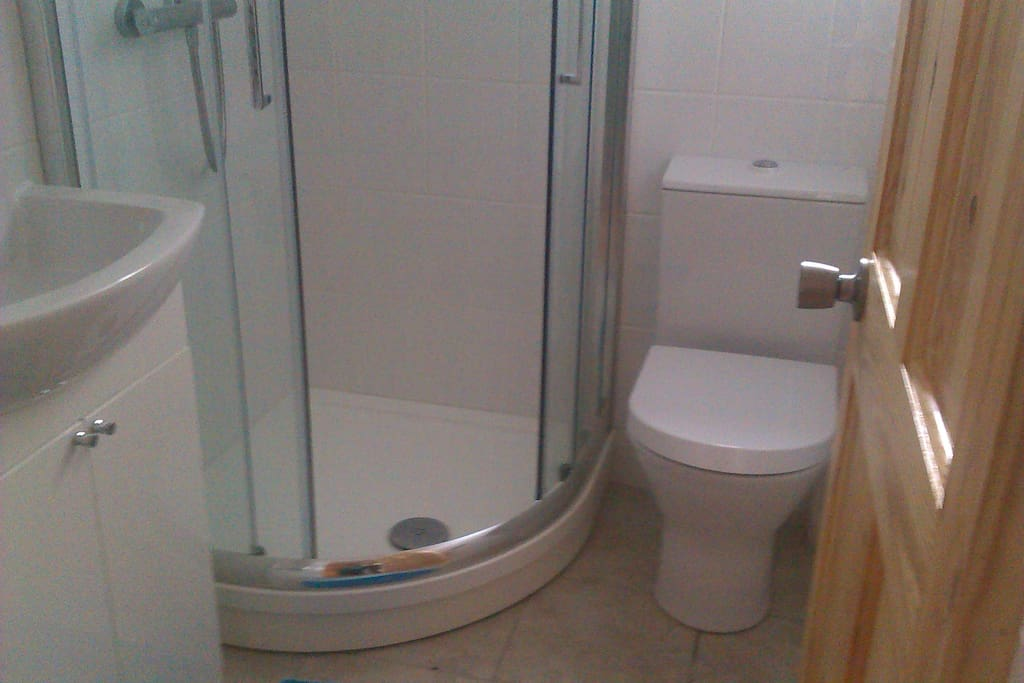 Shower, Toilet and Sink.  There is an window above toilet
