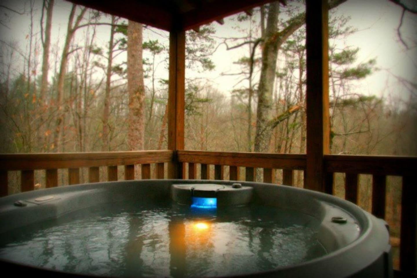 The Cottage hot tub overlooking Big Elkin Creek!