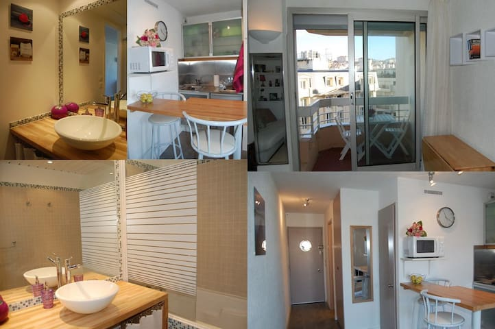 Bathroom, kitchen, balcony and interior of the apartment